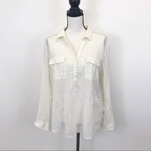 Old Navy Sheer Cream button down top L